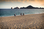 Image of vendors selling wares along Medano Beach in Cabo San Lucas, Baja California Sur, Mexico