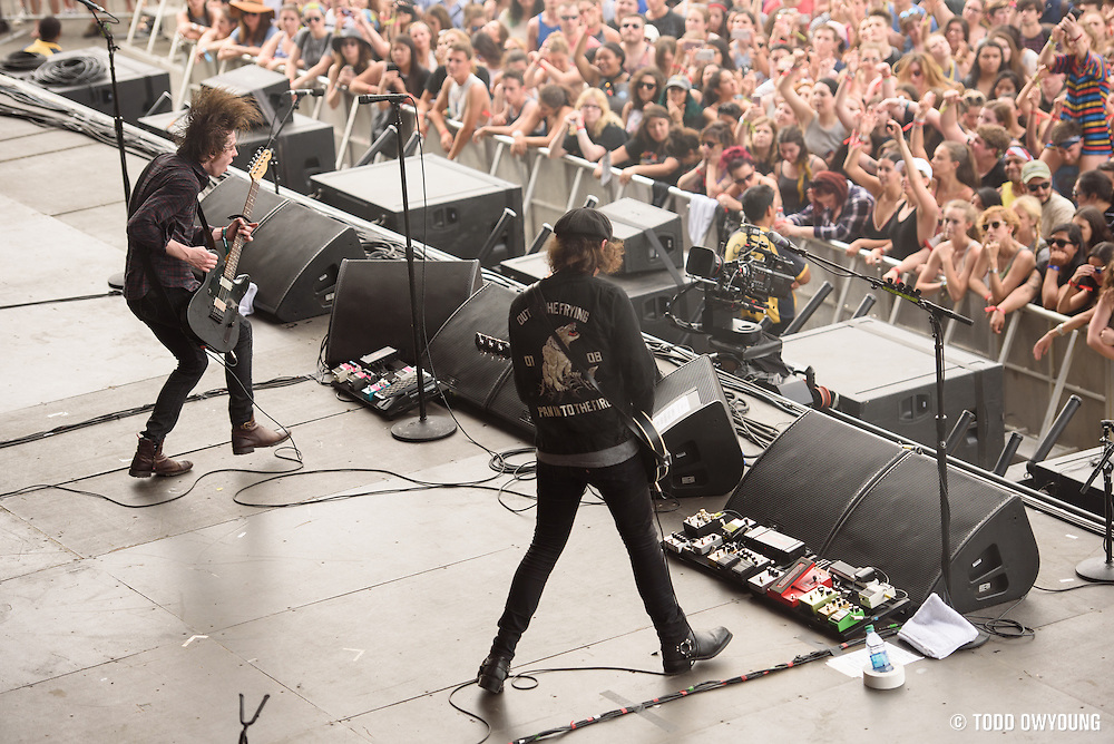 Catfish and the Bottlemen photographed performing at the Governors Ball Music Festival on Randalls Island in New  York City on June 4, 2016