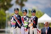 Podium Children Individual 1. Anna Guseynova - Lauda, 2. Celia Giorgetti - Decoeur, 3. Eva Vavrikova - Belle Ennie<br /> European Championships Dressage 2016<br /> © DigiShots