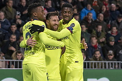 November 28, 2018 - Eindhoven, Netherlands - Lionel Messi of Barcelona celebrates scoring with his teammates during the UEFA Champions League Group B match between PSV Eindhoven and FC Barcelona at Philips Stadium in Eindhoven, Netherlands on November 28, 2018  (Credit Image: © Andrew Surma/NurPhoto via ZUMA Press)