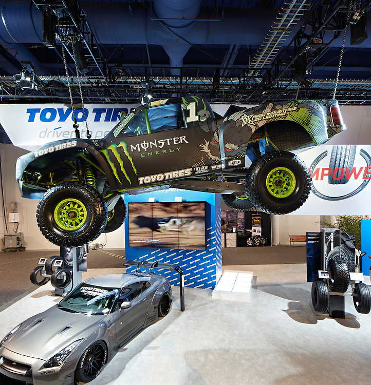 Toyo main, Toyo Treadpass, Toyo Grip Plaza, WARN immersion booths SEMA auto show Las Vegas, NV September 2013 Las Vegas Comvention Center