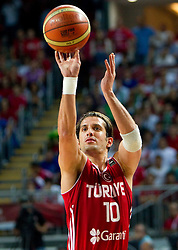 Kerem Tunceri of Turkey during the second semifinal basketball match between National teams of Serbia and Turkey at 2010 FIBA World Championships on September 11, 2010 at the Sinan Erdem Dome in Istanbul, Turkey. Turkey defeated Serbia 83 - 82 and qualified to finals.  (Photo By Vid Ponikvar / Sportida.com)