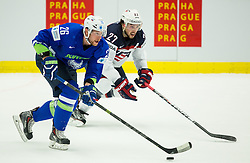 Jan Urbas of Slovenia vs Justin Faulk of USA during Ice Hockey match between Slovenia and USA at Day 10 in Group B of 2015 IIHF World Championship, on May 10, 2015 in CEZ Arena, Ostrava, Czech Republic. Photo by Vid Ponikvar / Sportida
