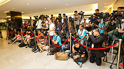 BANGKOK, THAILAND - Monday, July 13, 2015: Thai media await the Liverpool FC squad at Bangkok's Suvarnabhumi Airport as the team arrive in Thailand for the start of the club's preseason tour. (Pic by David Rawcliffe/Propaganda)