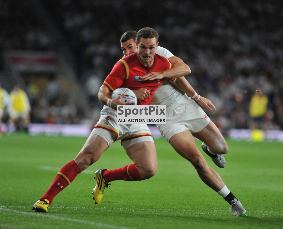 George North of Wales and Jonny May of England during the IRB RWC 2015 Pool A match between England and Wales at Twickenham Stadium on Saturday 26 September 2015, London, England. (c) Ian Nancollas | SportPix.org.uk