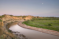 Moon over the Little Missouri River, Theodore Rossevelt National Park, North Dakota