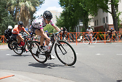 Mara Abbott (USA) of Wiggle Hi5 Cycling Team leans into a corner during the fourth, 70 km road race stage of the Amgen Tour of California - a stage race in California, United States on May 22, 2016 in Sacramento, CA.