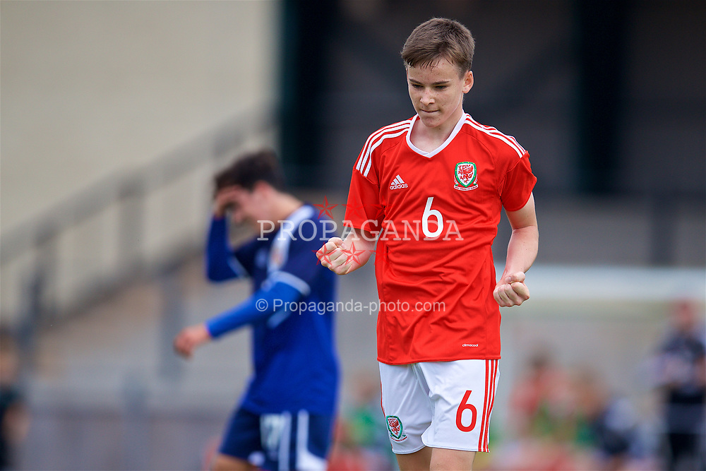 NEWPORT, WALES - Sunday, September 24, 2017: Wales' Owen Hesketh celebrates scoring the third goal during an Under-16 International friendly match between Wales and Gibraltar at the Newport Stadium. (Pic by David Rawcliffe/Propaganda)