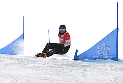 ZHANGJIAKOU, Feb. 24, 2019  Gong Naiying of China competes during the women's Parallel Slalom final of FIS Snowboard World Cup 2018-2019 in Zhangjiakou of north China's Hebei Province, on Feb. 24, 2019. Gong Naiying won the first. (Credit Image: © Xinhua via ZUMA Wire)