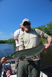 "Musky Country Outfitters guide Brian ""Lucky"" Porter with a WI musky caught and released fly fishing, Chippewa Flowage WI"