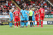 Rohan Ince  is sent off for throwing a water bottle  during the EFL Sky Bet League 2 match between Leyton Orient and Cheltenham Town at the Matchroom Stadium, London, England on 3 August 2019.