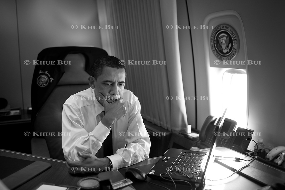 President Obama is interviewed by Newsweek Editor Jon Meacham from inside his office aboard Air Force One Wednesday, May 13, 2009.  ..Photo by Khue Bui.