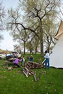 Peyote ceremony, Native American Church, Richard and Jim Real Bird, nephews John and Jack Real Bird, prepare peyote tipi, beside Little Bighorn River, Crow Indian Reservation, Montana