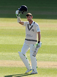 Middlesex's James Franklin celebrates his hundred - Photo mandatory by-line: Harry Trump/JMP - Mobile: 07966 386802 - 29/04/15 - SPORT - CRICKET - LVCC Division One - County Championship - Somerset v Middlesex - Day 4 - The County Ground, Taunton, England.
