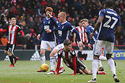 David Brooks of Sheffield United (36) thinks he was fouled during the EFL Sky Bet Championship match between Sheffield United and Nottingham Forest at Bramall Lane, Sheffield, England on 17 March 2018. Picture by Mick Haynes.