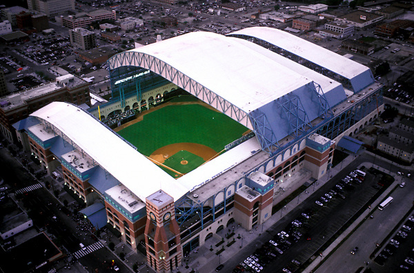 Aerial View Of Minute Maid Park With The Roof Open For An
