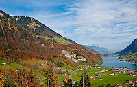 Ticino, Southern Switzerland. Autumn glory overlooking the Sarnersee in the Swiss Alps.