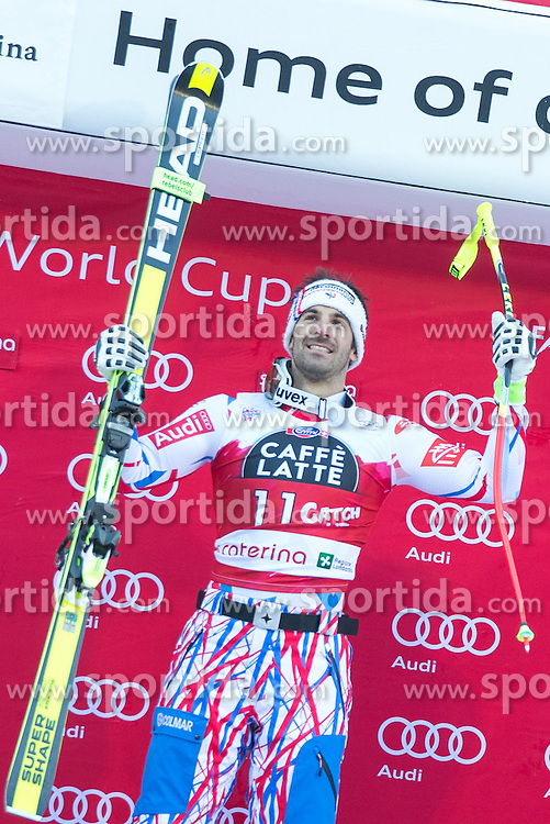 29.12.2015, Deborah Compagnoni Rennstrecke, Santa Caterina, ITA, FIS Ski Weltcup, Santa Caterina, Abfahrt, Siegerehrung, im Bild Adrien Theaux (FRA, 1. Platz) // winner Adrien Theaux of France during the award winner ceremony of the men's downhill of the Santa Caterina FIS Ski Alpine World Cup at the Deborah Compagnoni Course in Santa Caterina, Italy on 2015/12/29. EXPA Pictures © 2015, PhotoCredit: EXPA/ Johann Groder