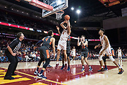Southern California Trojans forward Nick Rakocevic (31) gets fouled against Pepperdine Waves center Victor Ohia Obioha (34) during an NCAA college basketball game, Tuesday, Nov. 19, 2019, in Los Angeles. USC defeated Pepperdine 91-84. (Jon Endow/Image of Sport)