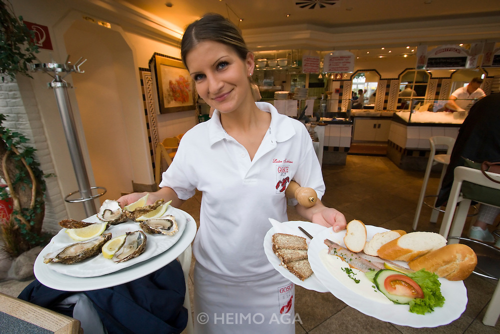 Gosch fish restaurant. Sylter Royal oysters and Matjes herring.
