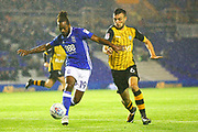Birmingham City's Jacques Maghoma holds off Sheffield Wednesday's Morgan Fox during the EFL Sky Bet Championship match between Birmingham City and Sheffield Wednesday at St Andrews, Birmingham, England on 27 September 2017. Photo by John Potts.