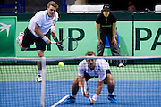 Marcin Matkowski &amp; Mariusz Fyrstenberg both of Poland compete at men's double game during the BNP Paribas Davis Cup 2014 between Poland and Croatia at Torwar Hall in Warsaw on April 5, 2014.<br /> <br /> Poland, Warsaw, April 5, 2014<br /> <br /> Picture also available in RAW (NEF) or TIFF format on special request.<br /> <br /> For editorial use only. Any commercial or promotional use requires permission.<br /> <br /> Mandatory credit:<br /> Photo by &copy; Adam Nurkiewicz / Mediasport
