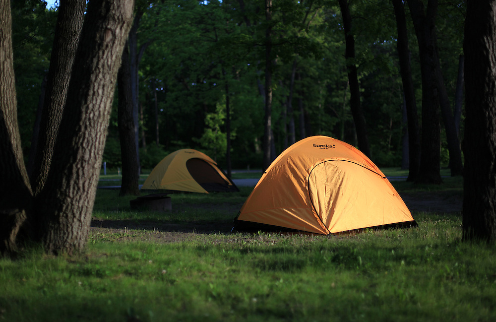 Indiana Dunes State Park camping. Chesterton, Indiana.