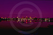 Harrisburg, PA, City Skyline, Susquehanna River Reflections, Night Light, Purple Color