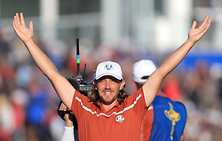 Team Europe's Tommy Fleetwood celebrates victory on the 14th during the Foursomes match on day two of the Ryder Cup at Le Golf National, Saint-Quentin-en-Yvelines, Paris. PRESS ASSOCIATION Photo. Picture date: Saturday September 29, 2018. See PA story GOLF Ryder. Photo credit should read: Gareth Fuller/PA Wire. RESTRICTIONS: Use subject to restrictions. Written editorial use only. No commercial use.