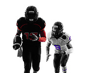 two american football players running in silhouette shadow on white background