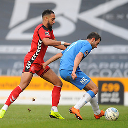 TELFORD COPYRIGHT MIKE SHERIDAN 16/2/2019 - Brendan Daniels of AFC Telford and Adam Thomas of Stockport during the Vanarama Conference North fixture between Stockport County and AFC Telford United at Edgeley Park