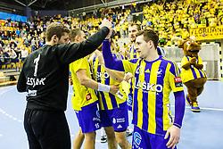 Lesjak Urban #1 of RK Celje Pivovarna Lasko and Zarabec Miha #23 of RK Celje Pivovarna Lasko during handball match between RK Celje Pivovarna Lasko (SLO) and KS Viive Tauron Kielce (POL) in Group phase of EHF Men's Champions League 2016/17, on February 19, 2017 in Arena Zlatorog, Celje, Slovenia. Photo by Grega Valancic
