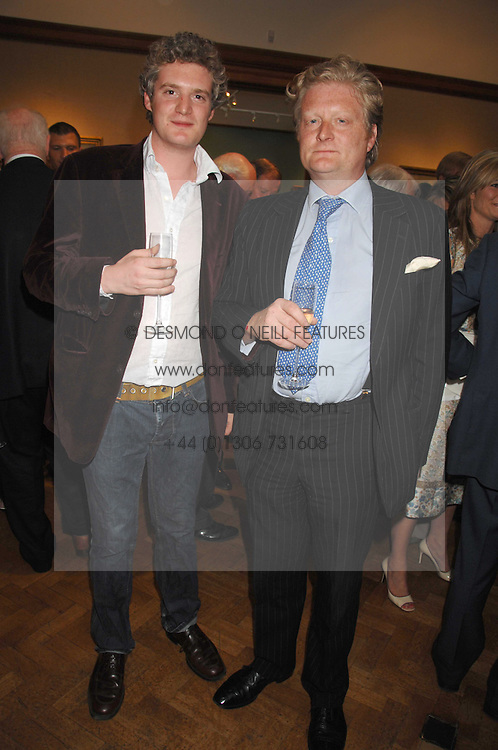 Left to right, WILLIAM ROPER-CURZON and DAVID ROPER-CURZON at a reception to launch the Knight of Glin's book 'Irish Furniture' and Harry Erne's book 'Freddy Lond Ears' held at Christie's, 8 King Street, London SW1 on 3rd May 2007.<br />