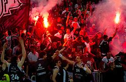 Fans of Partizan celebrate after the final match of Basketball NLB League at Final four tournament between KK Union Olimpija (SLO) and Partizan Belgrade (SRB), on April 21, 2011 in Arena Stozice, Ljubljana, Slovenia.  (Photo By Vid Ponikvar / Sportida.com)