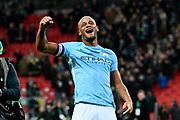 Vincent Kompany (4) of Manchester City celebrates the 3-0 win over Arsenal at full time during the EFL Cup Final match between Arsenal and Manchester City at Wembley Stadium, London, England on 25 February 2018. Picture by Graham Hunt.