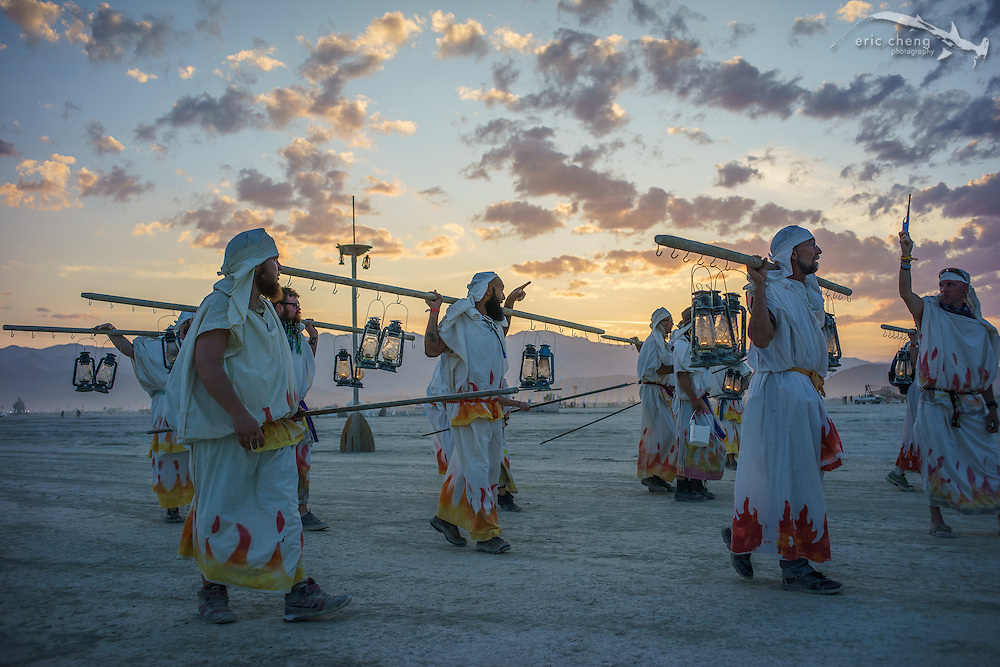 Nightly lamplighter ceremony. Burning Man 2014