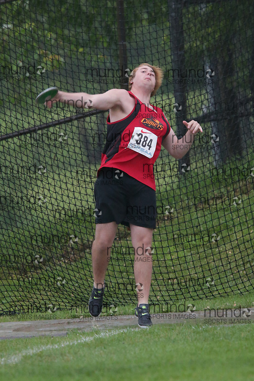 Shaun Mills of Cobourg DCI East - Coburg competes in the junior boys discus at the 2013 OFSAA Track and Field Championship in Oshawa Ontario, Thursday,  June 6, 2013.<br /> Mundo Sport Images / Sean Burges