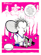 (Tennis player John McEnroe as a baby sitting on the ground surrounded by adults)