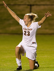 Virginia midfielder/defender Nikki Krzysik (23) reacts after scoring the game's first goal.  The Virginia Cavaliers defeated the Loyola (MD) Greyhounds 4-1 in the first round of the NCAA Women's Soccer tournament held at Klockner Stadium in Charlottesville, VA on November 16, 2007.