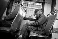 2012 June 11 - Bus riders on a King County Metro bus in Seattle, WA. CREDIT: Richard Walker