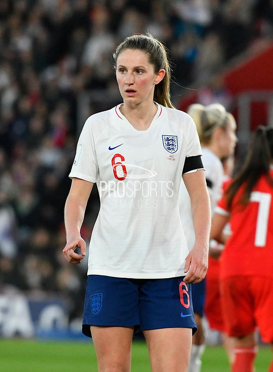 Abbie McManus (6) of England during the FIFA Women's World Cup UEFA Qualifier match between England Ladies and Wales Women at the St Mary's Stadium, Southampton, England on 6 April 2018. Picture by Graham Hunt.