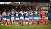 A minute silence before kick off by the Portsmouth players during the Capital One Cup match between Portsmouth and Reading at Fratton Park, Portsmouth, England on 25 August 2015. Photo by Adam Rivers.