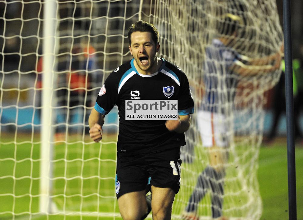 Marc McNulty (Portsmouth, black &amp; blue) makes it 1-2<br /> <br /> Carlisle United v Portsmouth, SKY BET LEAGUE 2, 21st November 2015<br /> <br /> (c) Alex Todd | SportPix.org.uk
