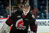 KELOWNA, CANADA - JANUARY 16:  Brodan Salmond #30 of the Moose Jaw Warriors is all smiles after the win against his former team Kelowna Rockets on January 16, 2019 at Prospera Place in Kelowna, British Columbia, Canada.  (Photo by Marissa Baecker/Shoot the Breeze)