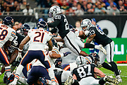 Touchdown, Josh Jacobs (RB) of the Oakland Raiders dives over the line for a Oakland Raiders touchdown during the International Series match between Oakland Raiders and Chicago Bears at Tottenham Hotspur Stadium, London, United Kingdom on 6 October 2019.