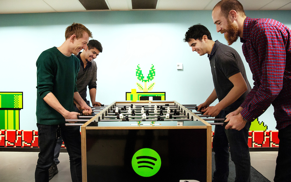 2016-02-16, Inside Spotify's Stockholm HQ, Sweden. The Super Mario themed Foosball room.
