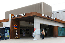 © Licensed to London News Pictures. 21/03/2019. London, UK.  The entrance to Hackney Wick overground station, which has reopened this morning. Two people were found dead on the Overground Railway track between Stratford and Hackney Wick last night.  Photo credit: Vickie Flores/LNP