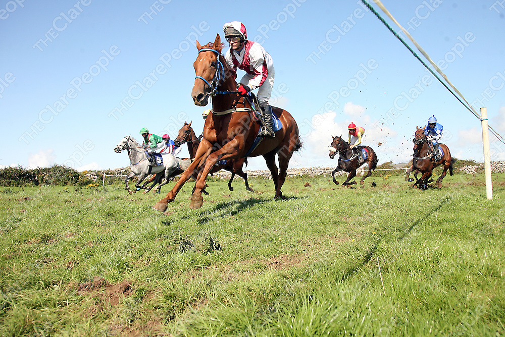 Fergie's Boy leading them around the bend in the third at the annual Lisdoonvarna races at the weekend.<br /> Photograph by Yvonne Vaughan