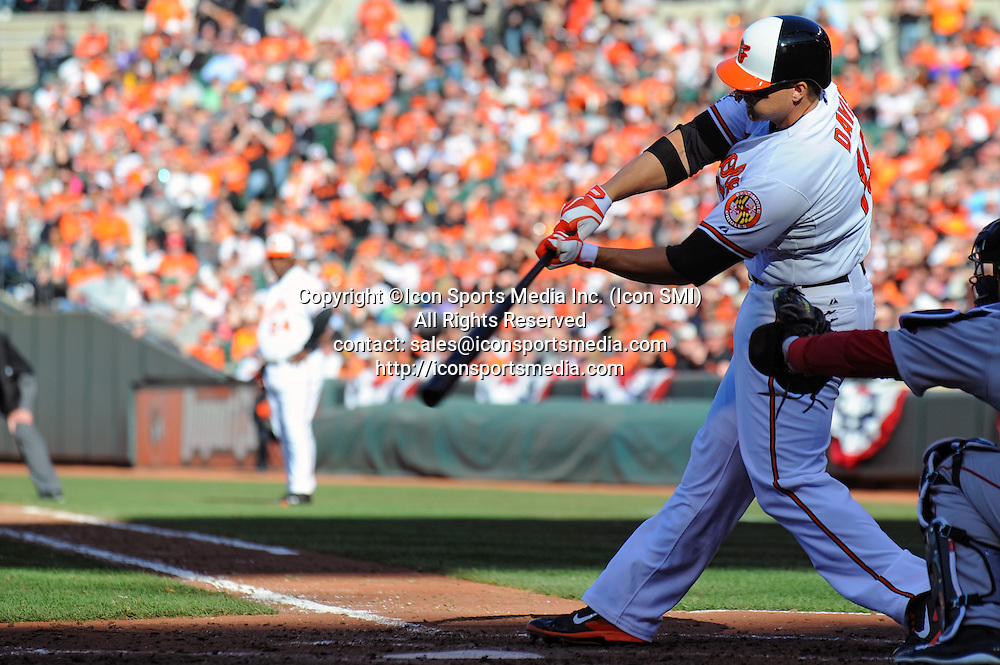 31 March 2013:  Baltimore Orioles first baseman Chris Davis (19) bats at Camden Yards in Baltimore, MD. where the Baltimore Orioles defeated the Boston Red Sox, 2-1 in the Orioles home opener.