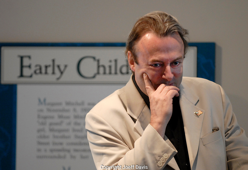 """ATLANTA, GA - May 16, 2007: Author Christopher Hitchens visited the Margaret Mitchell House to promote his book """"God is Not Great: How Religion Poisons Everything.""""  He debated Emory Christian ethics Professor Timothy Jackson about the existence of God and the worthiness of religion in two sold out events at the Margaret Mitchell House, in Atlanta, Georgia. The debate was moderated by Cynthia Tucker, editor, Atlanta Journal-Constitution."""